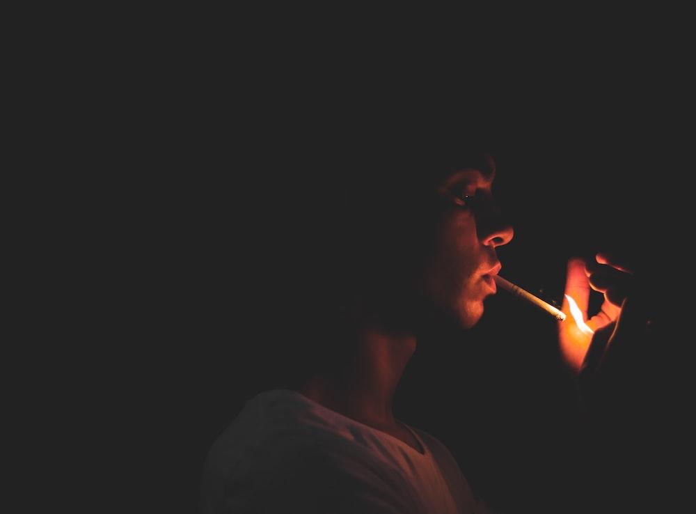 man holding lighter