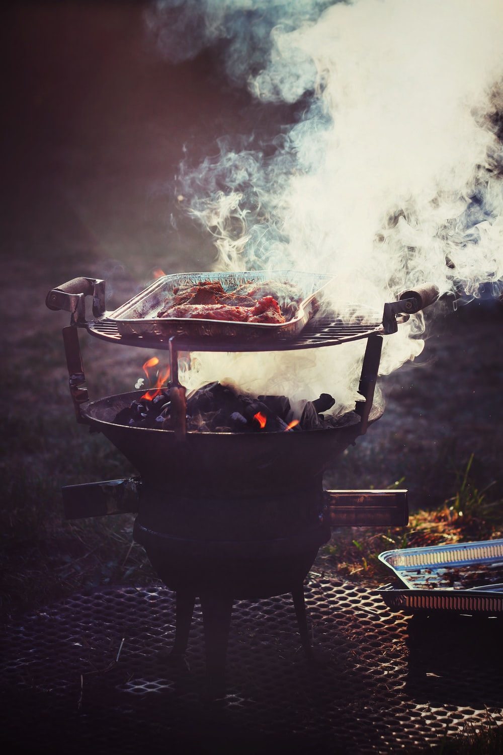 smoking charcoal grill