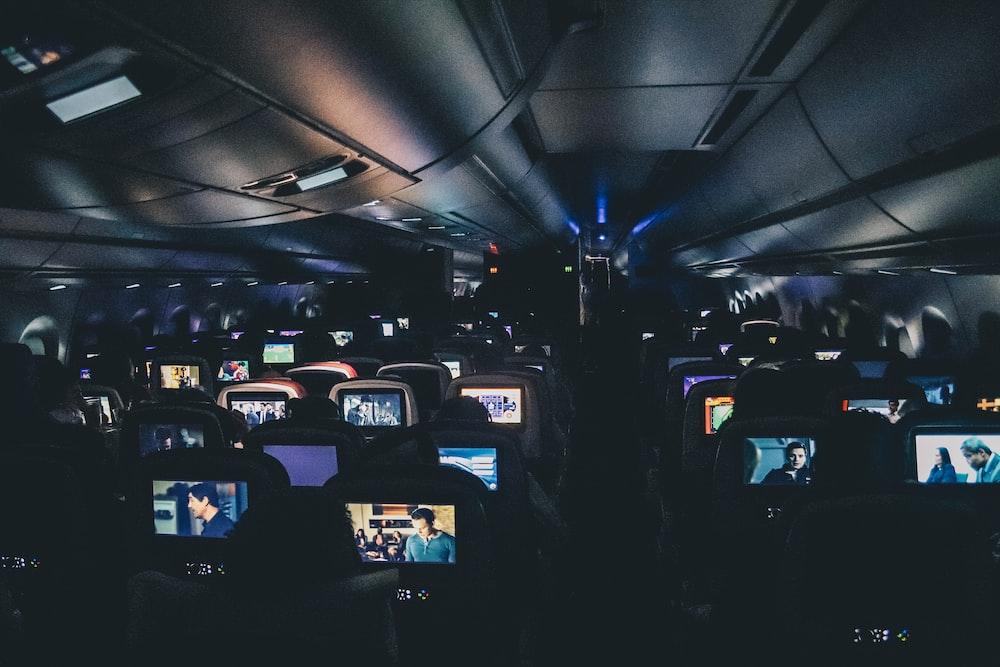 turned-on headrest monitors