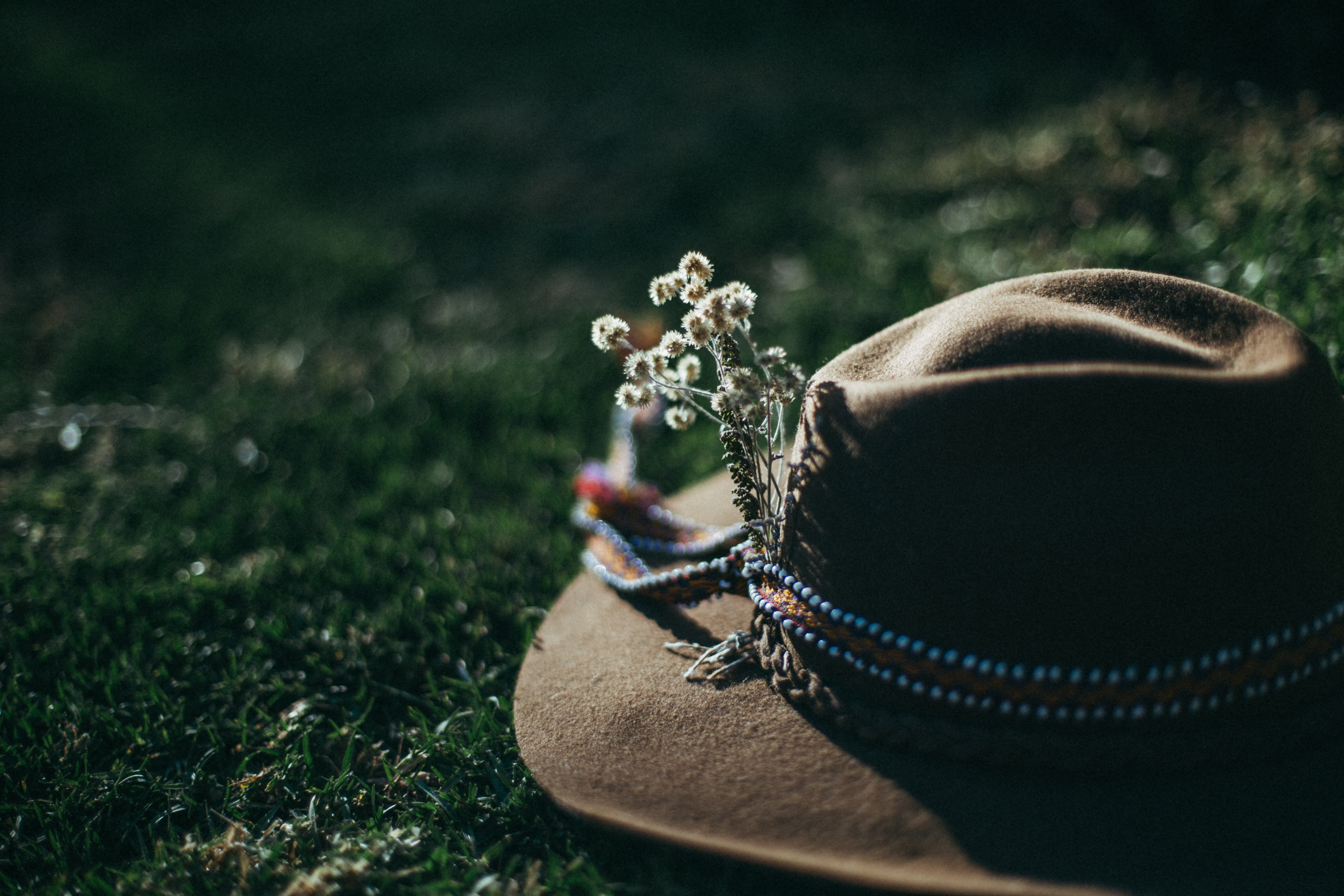 brown fedora hat on grass field