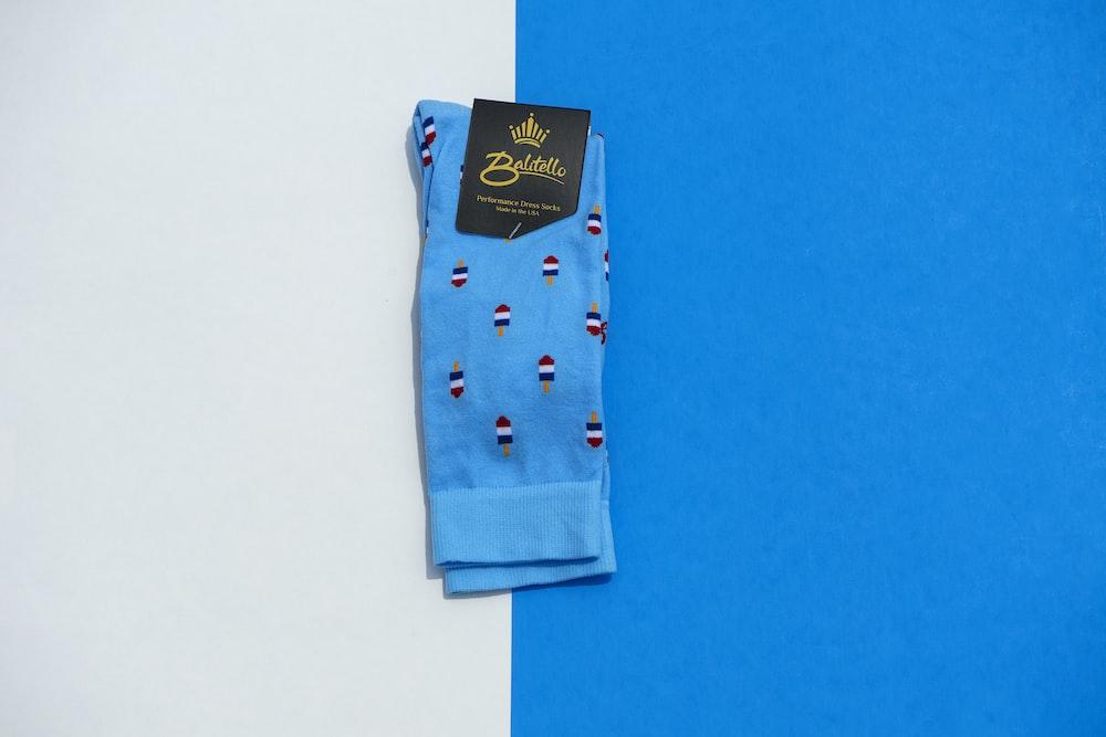 folded blue sock