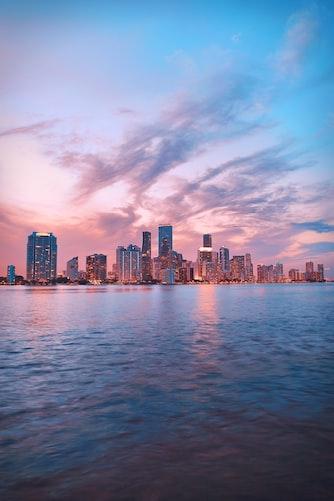 Miami, Florida beach at sunset