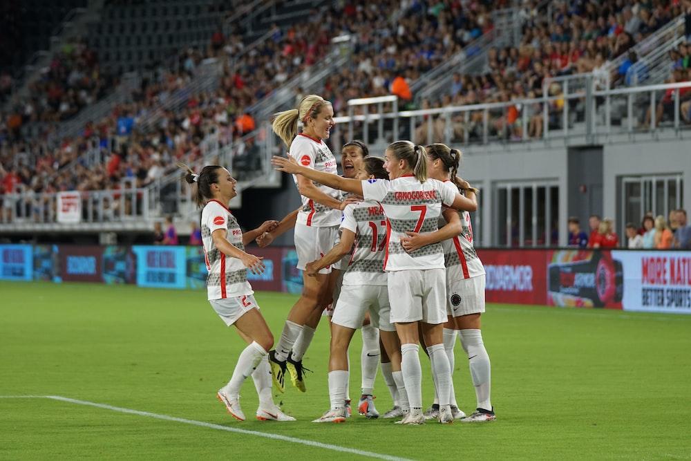 girl soccer group on soccer field