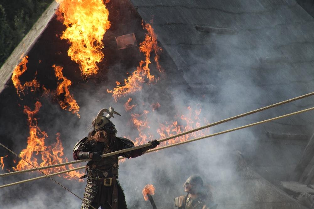 man holding rope