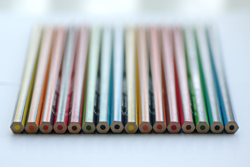 color pencil piled on white panel