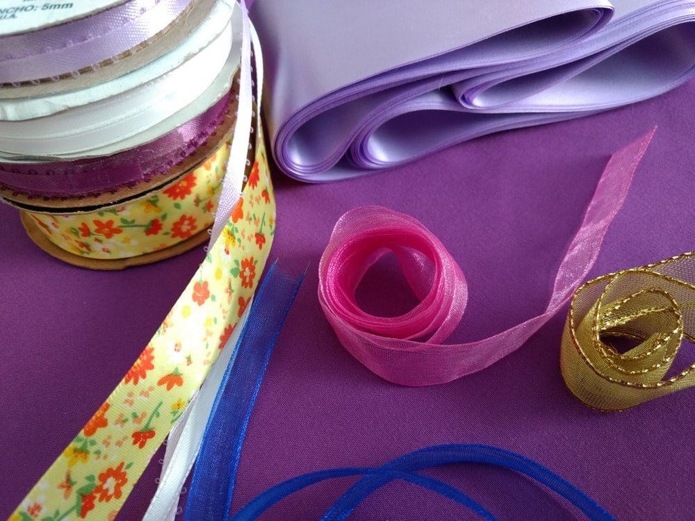 pink and yellow lace ribbons
