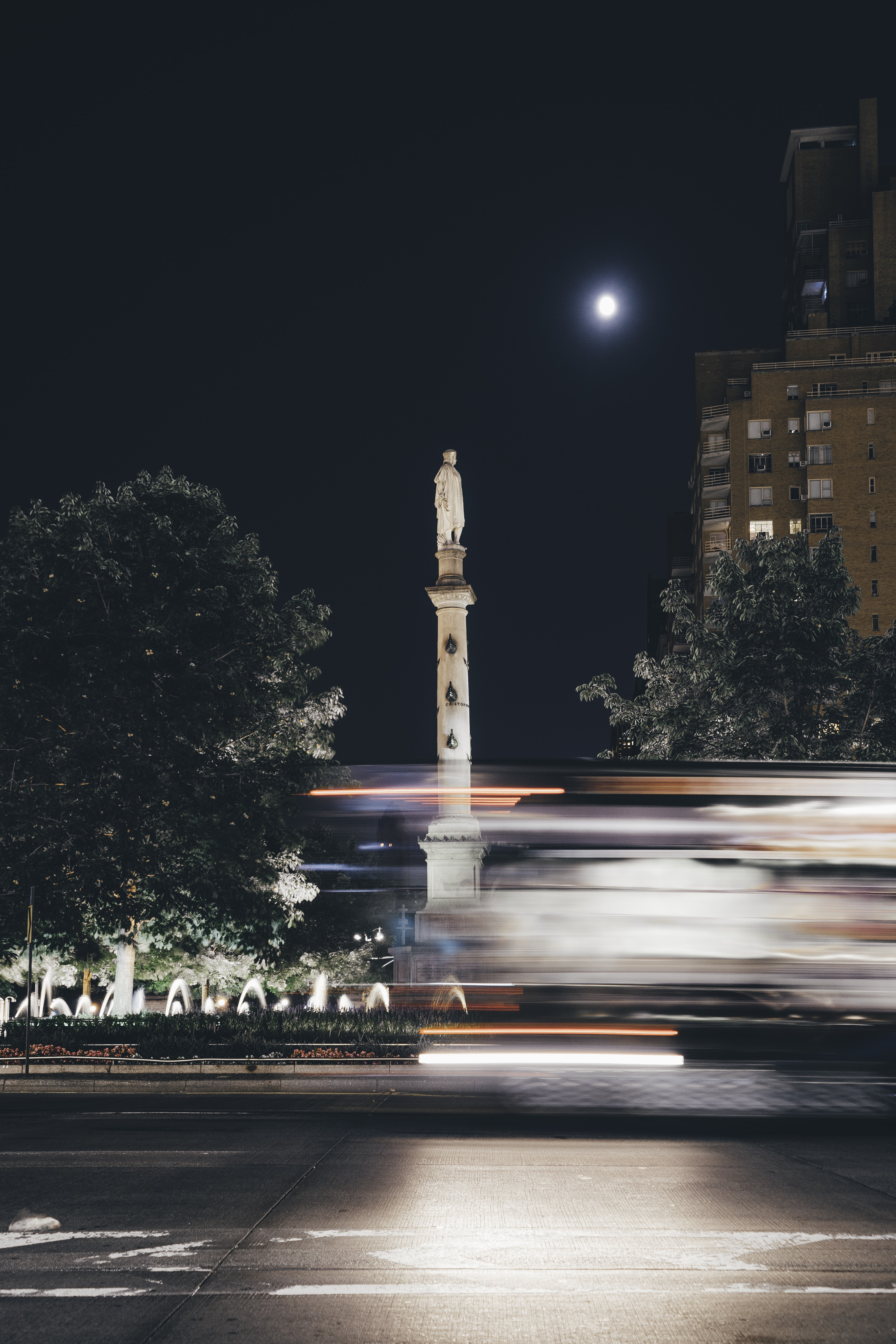 timelapse photography of park square at night