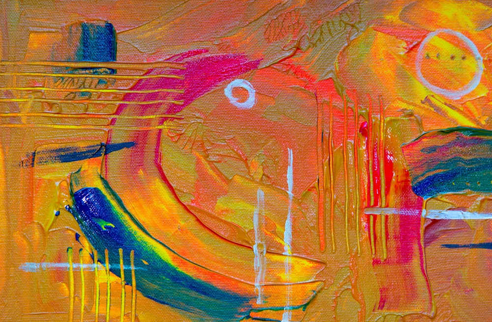 yellow and blue abstract painting