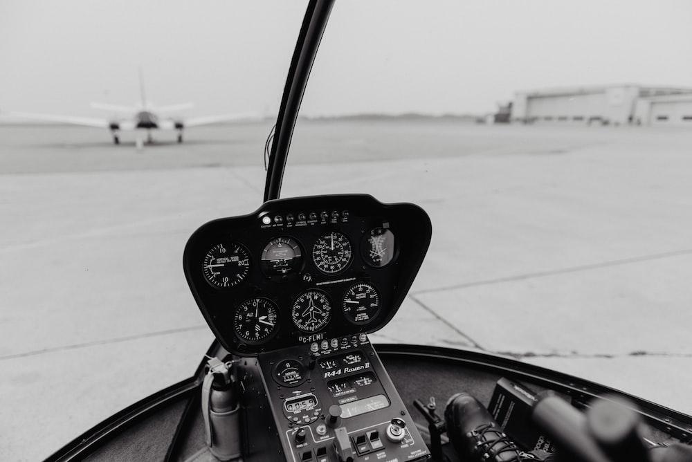 black aircraft dashboard