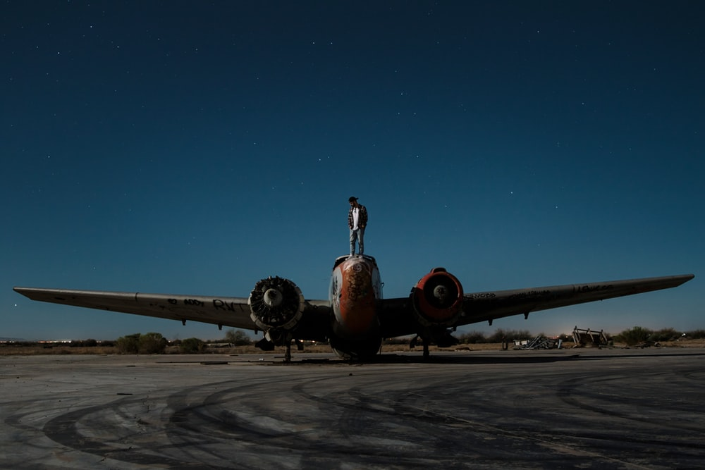 gray and orange airplane