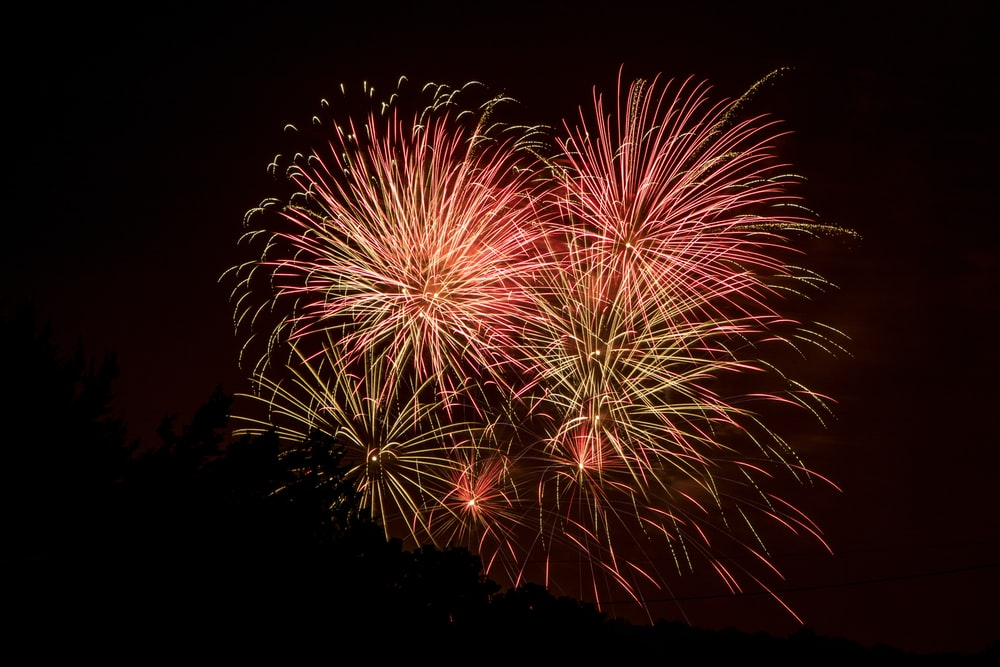 red and yellow fireworks
