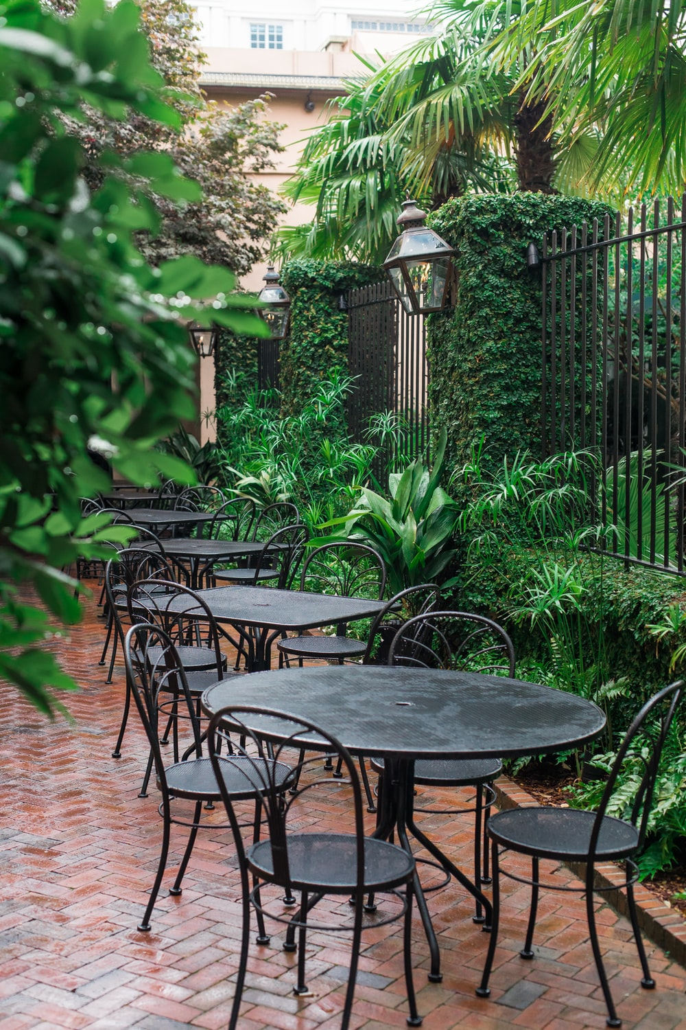 black metal patio tables near green plants during daytime