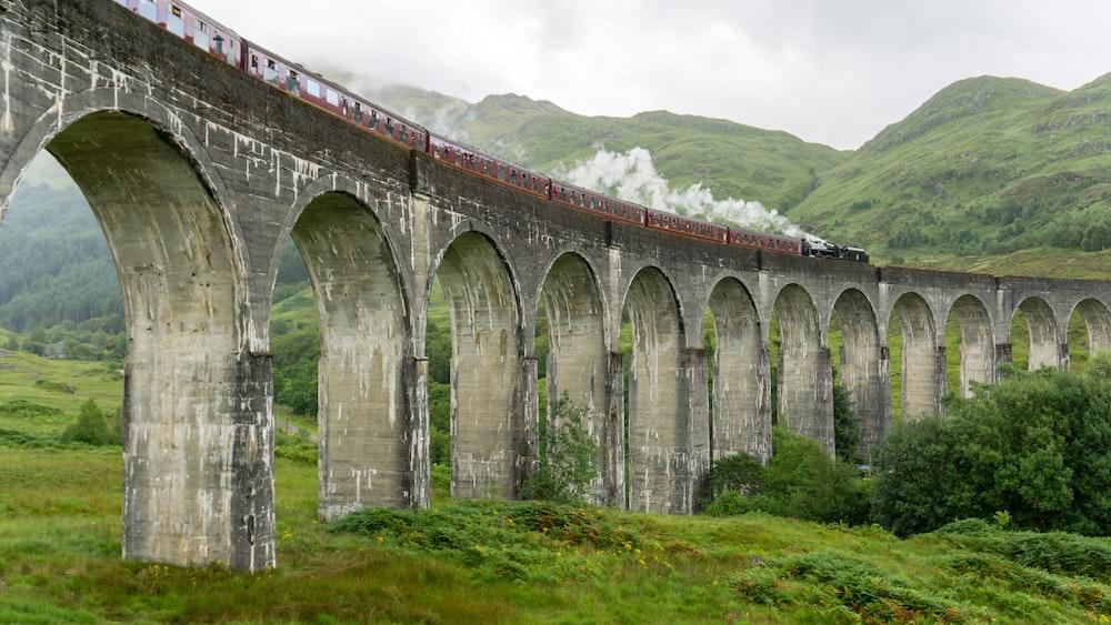 train on concrete bridge near mountain