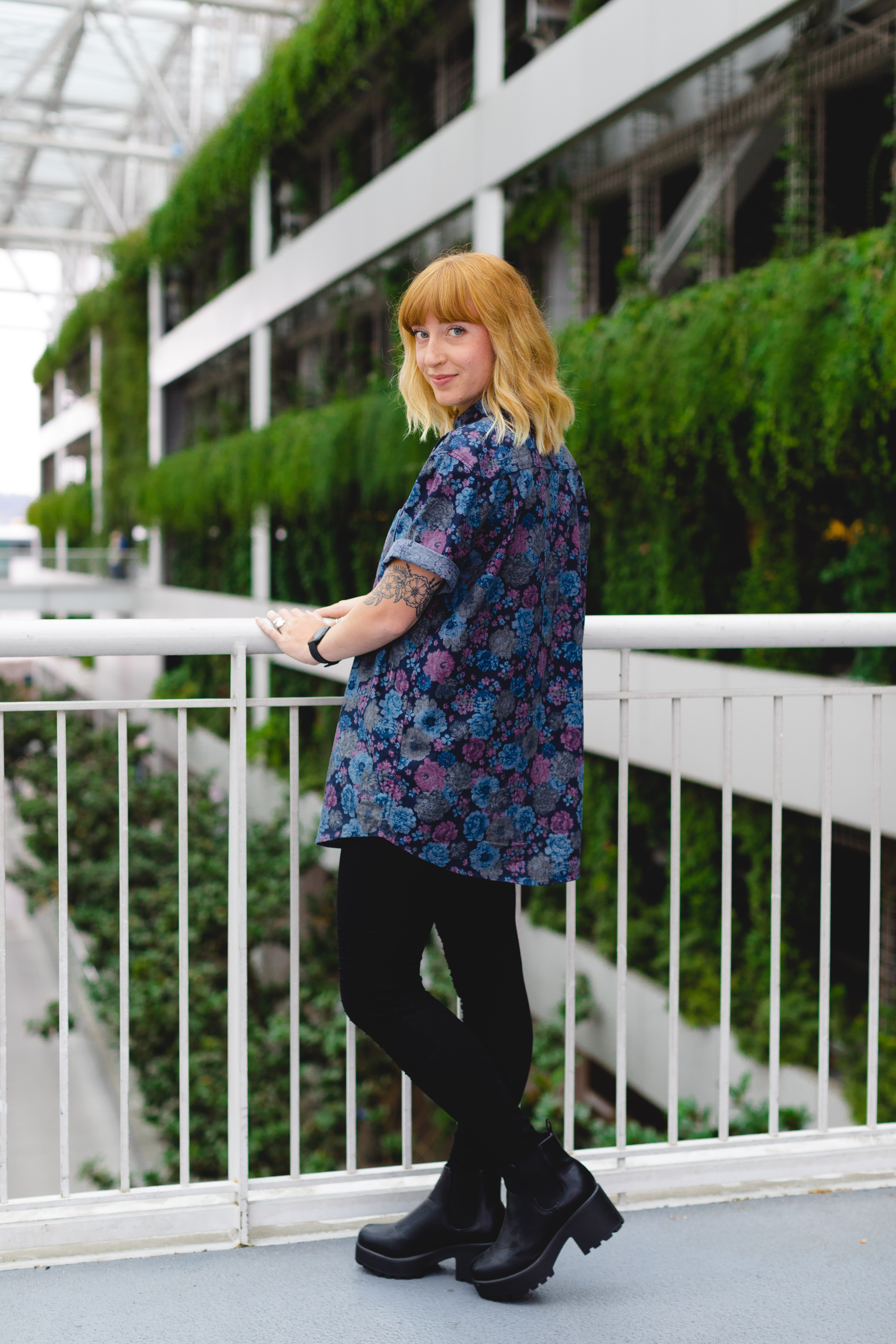 women's blue and purple floral shirt