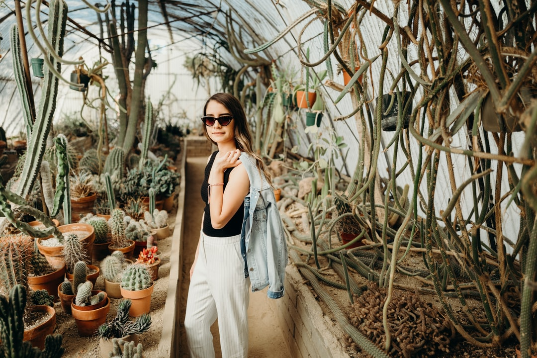 My little sister at Moorteen Botanical Gardens in Palm Springs