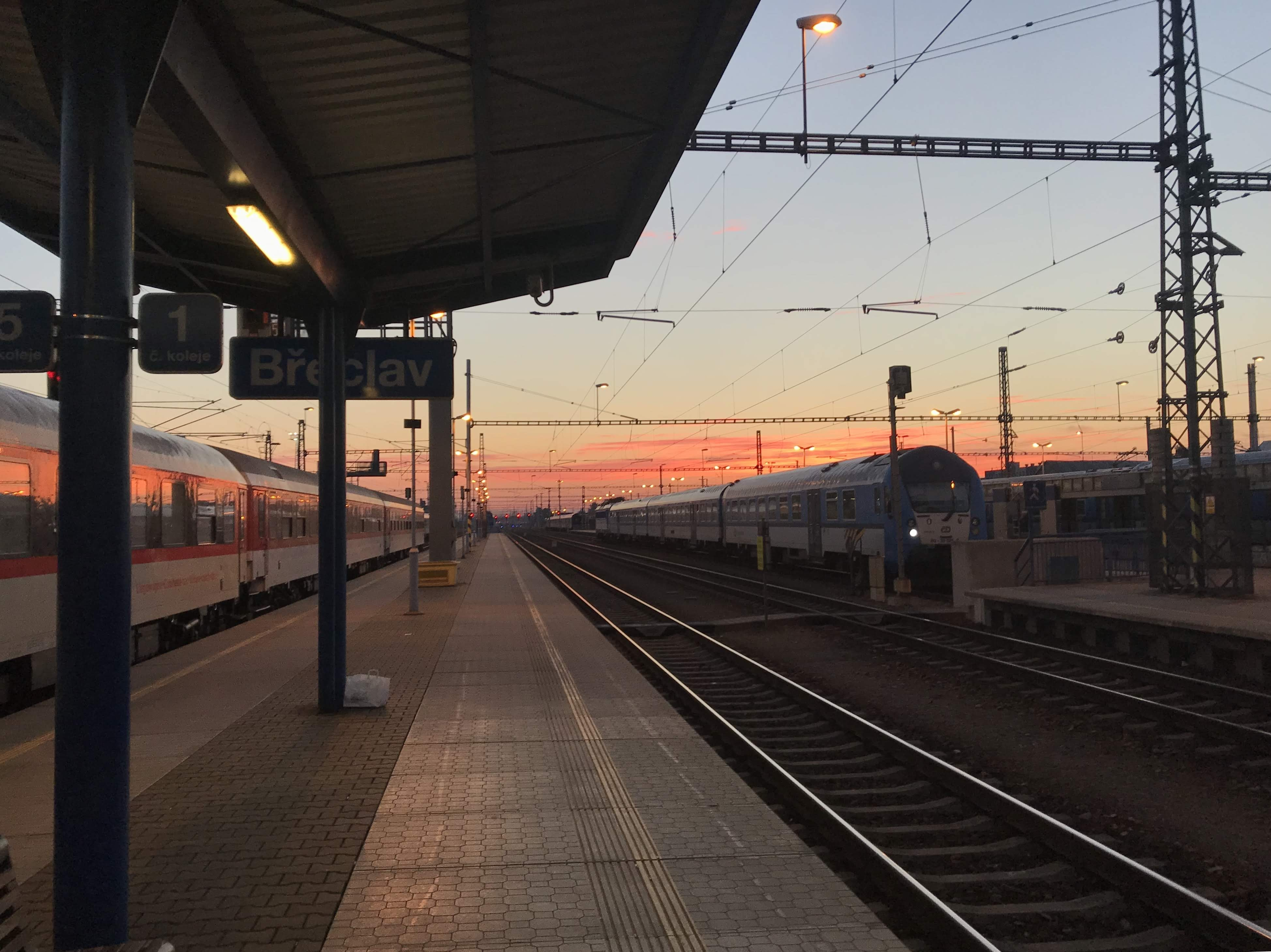 empty train station during golden hour