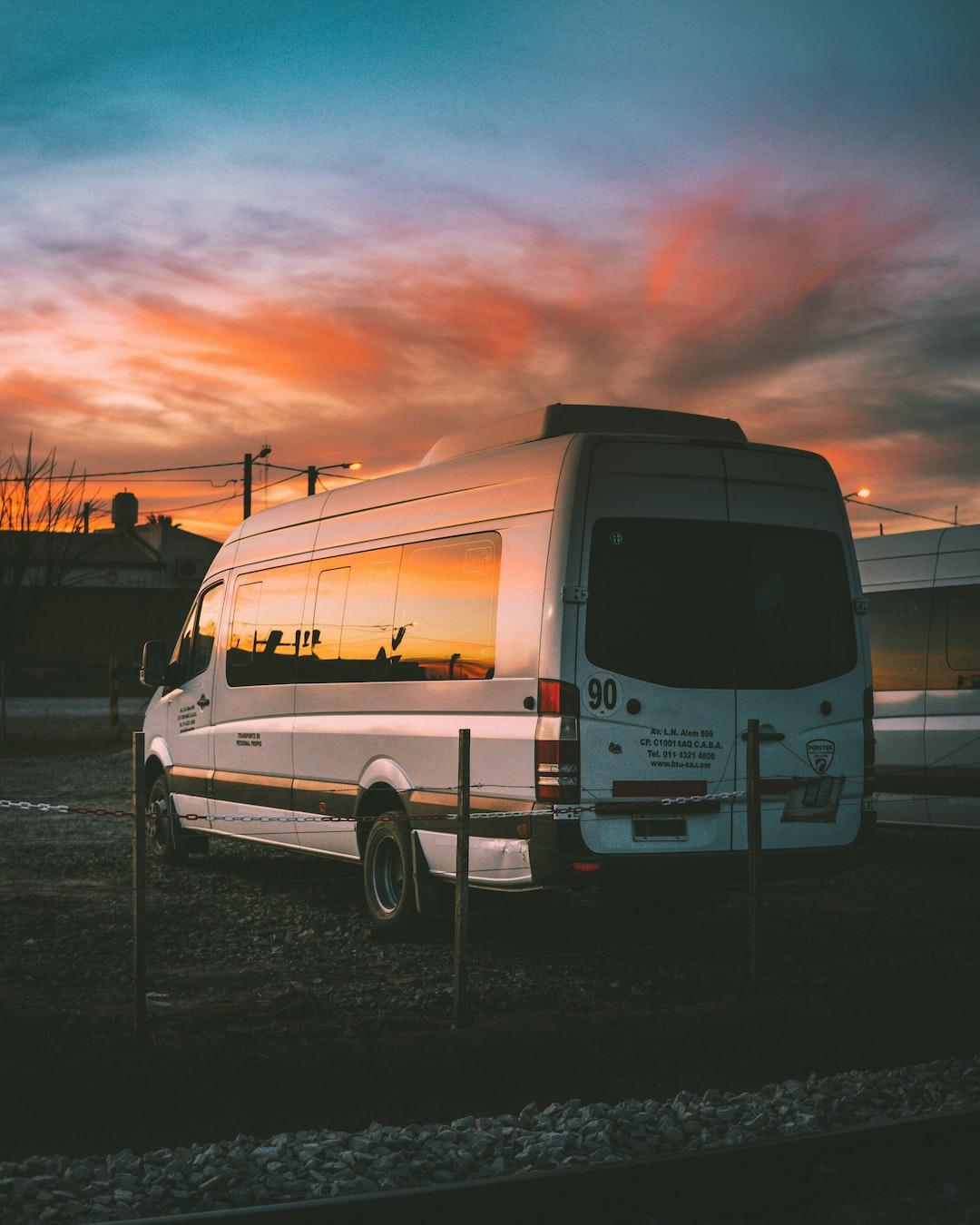 Van parking with sunset sky