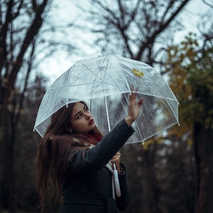 woman holding clear umbrella while standing near trees at daytime