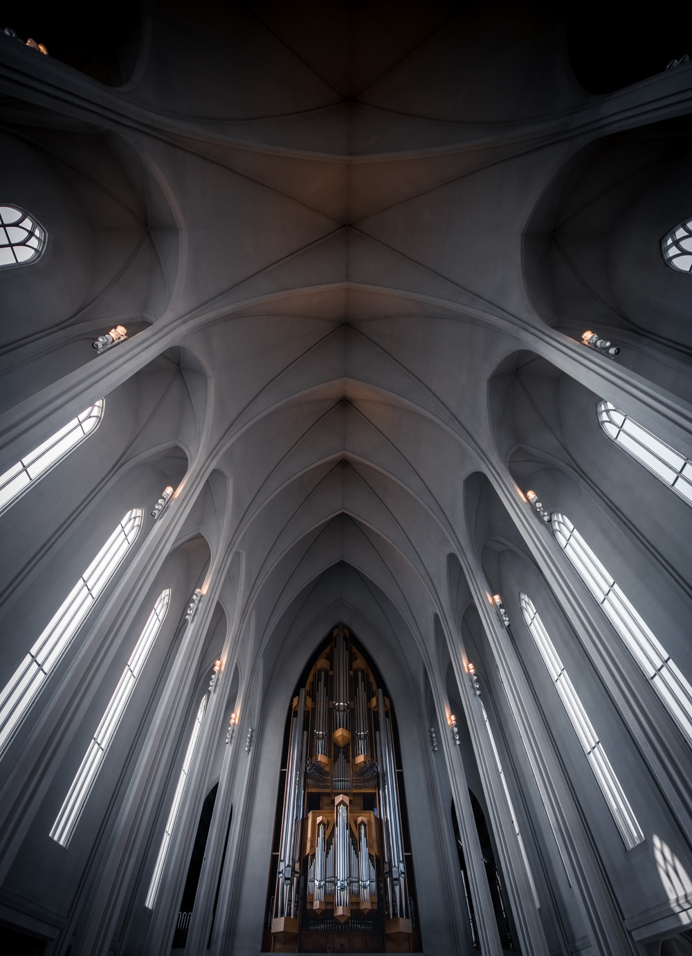 low angle photography of cathedral interior