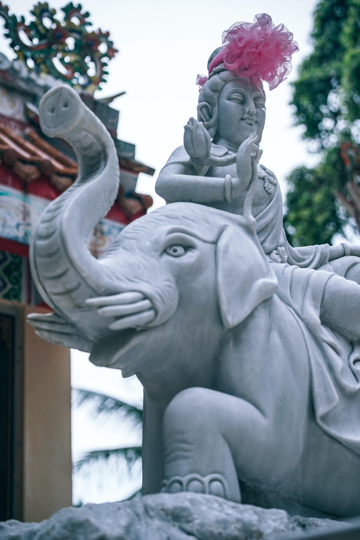 gray elephant and Buddha statues