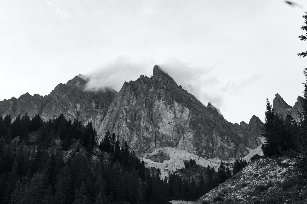 grayscale photography of mountains