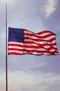 U.S. flag under blue skies