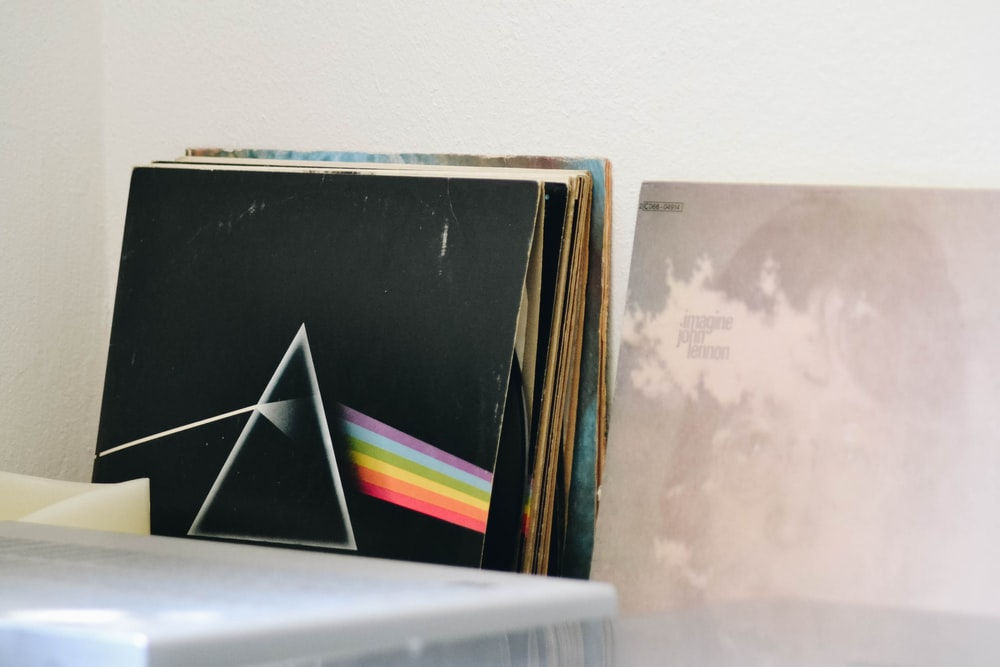 vinyl sleeve near white wall
