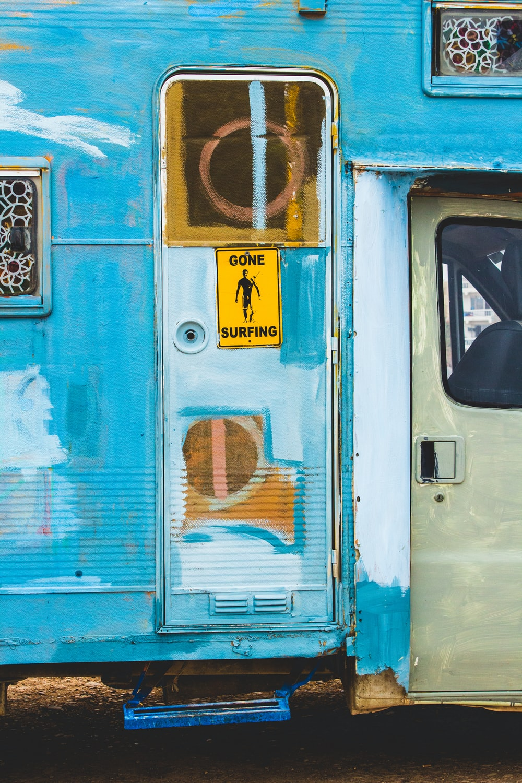 blue travel trailer