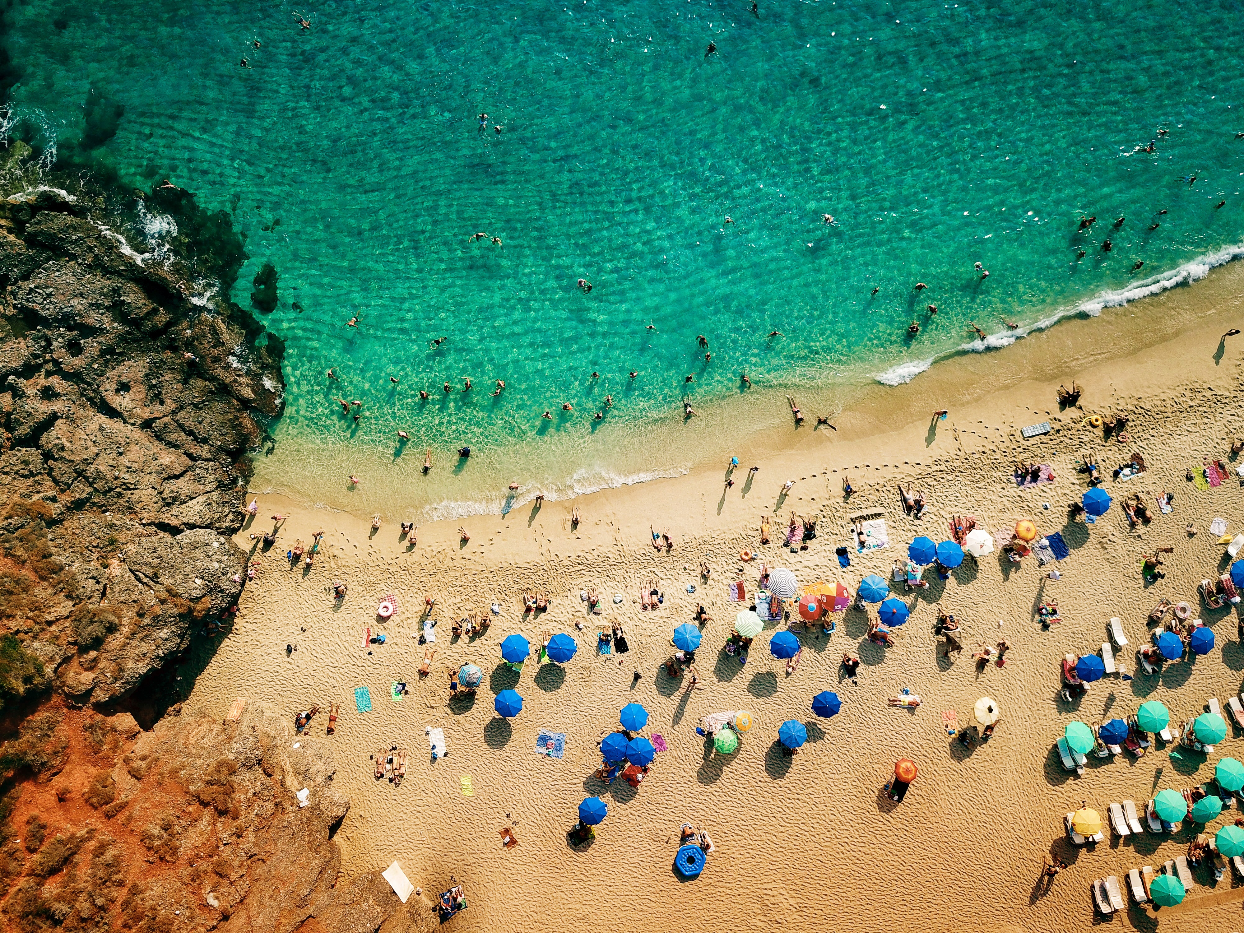 aerial view photography of people on seashore during daytime