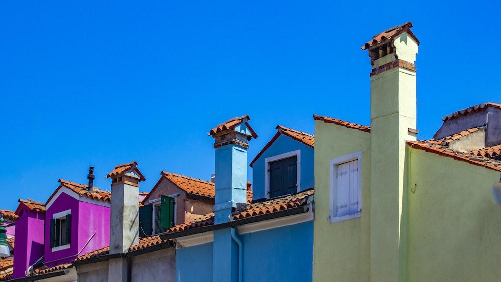 several multicolored concrete houses