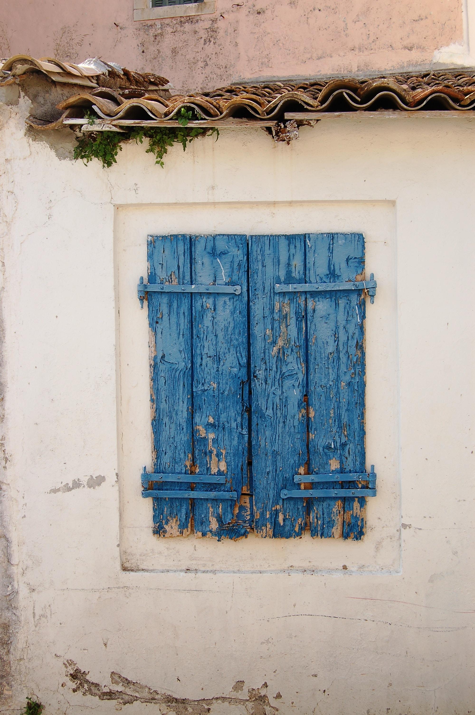 blue wooden window