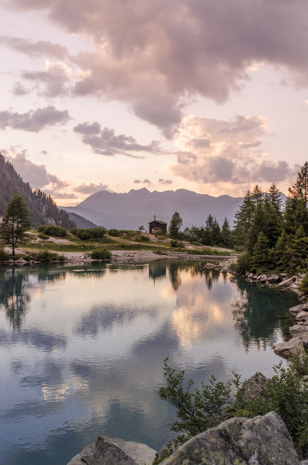 body of water with mountains and trees