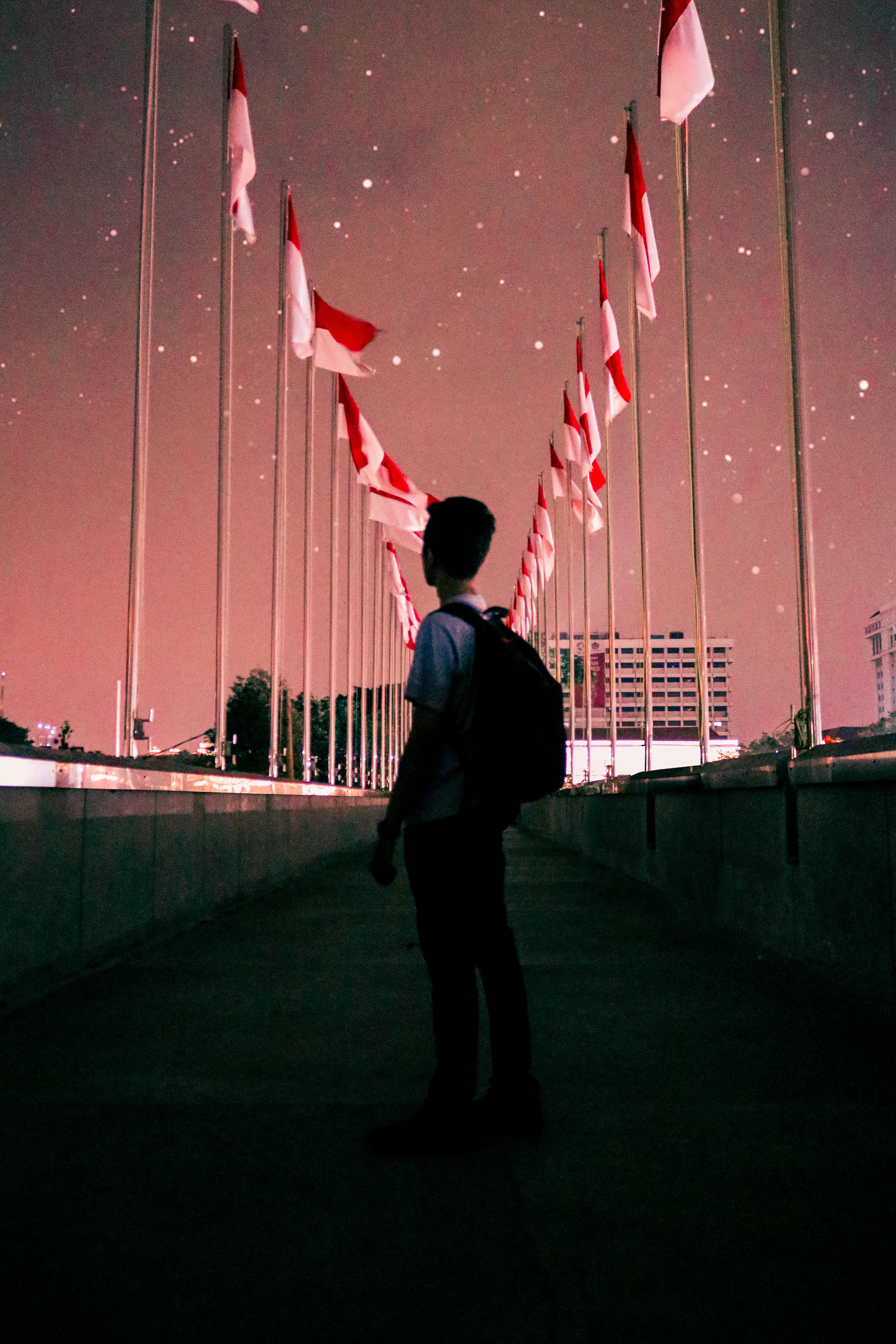 man standing on bridge during night time