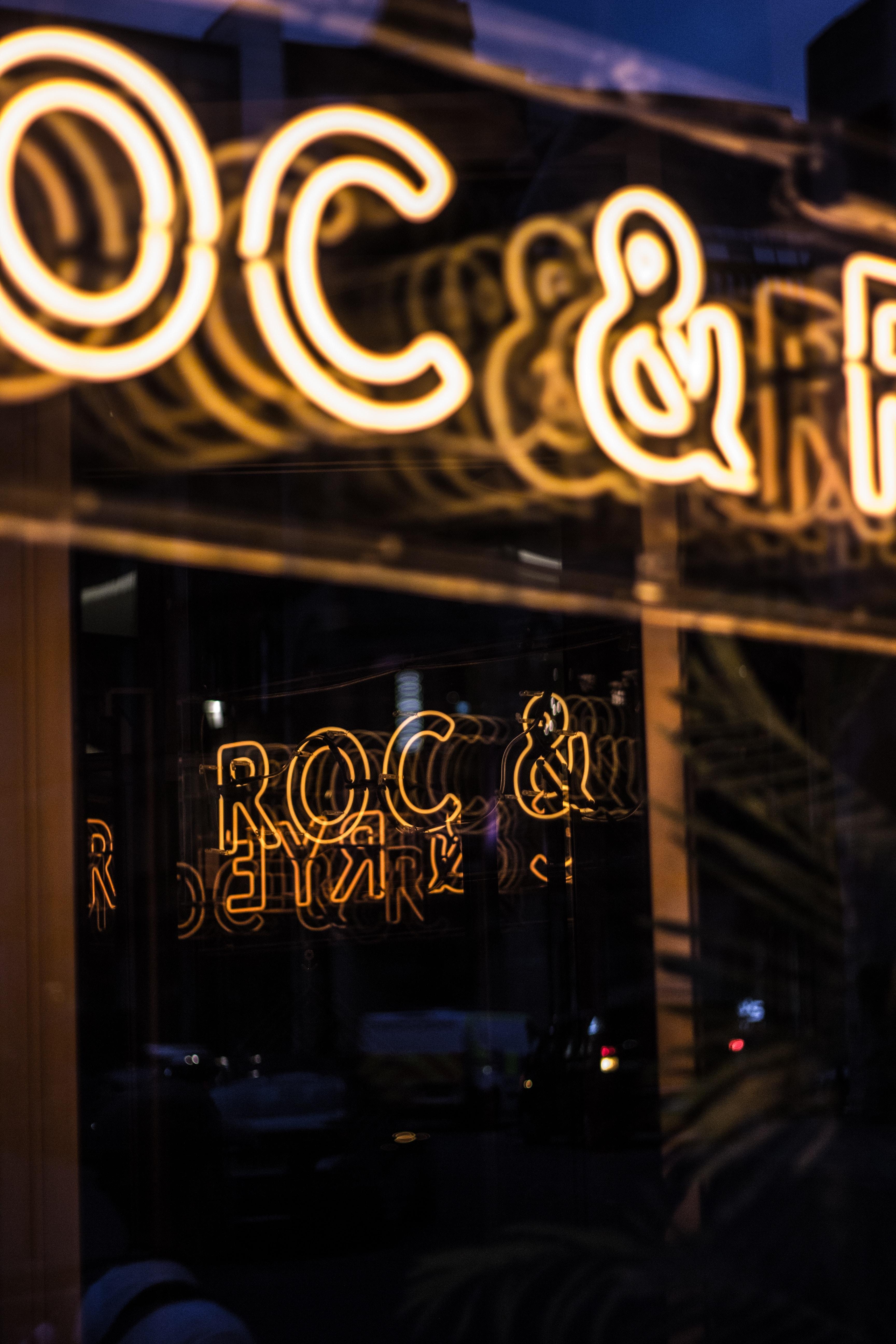 white Roc & Rye neon signage