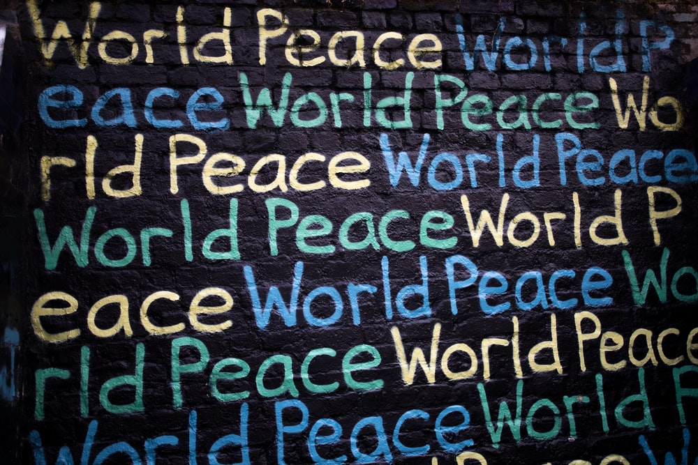 World Peace text printed on wall