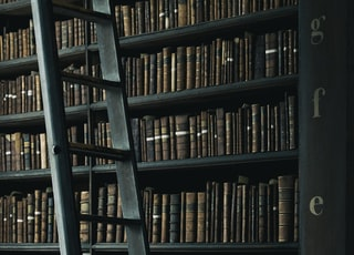library shelf near black wooden ladder