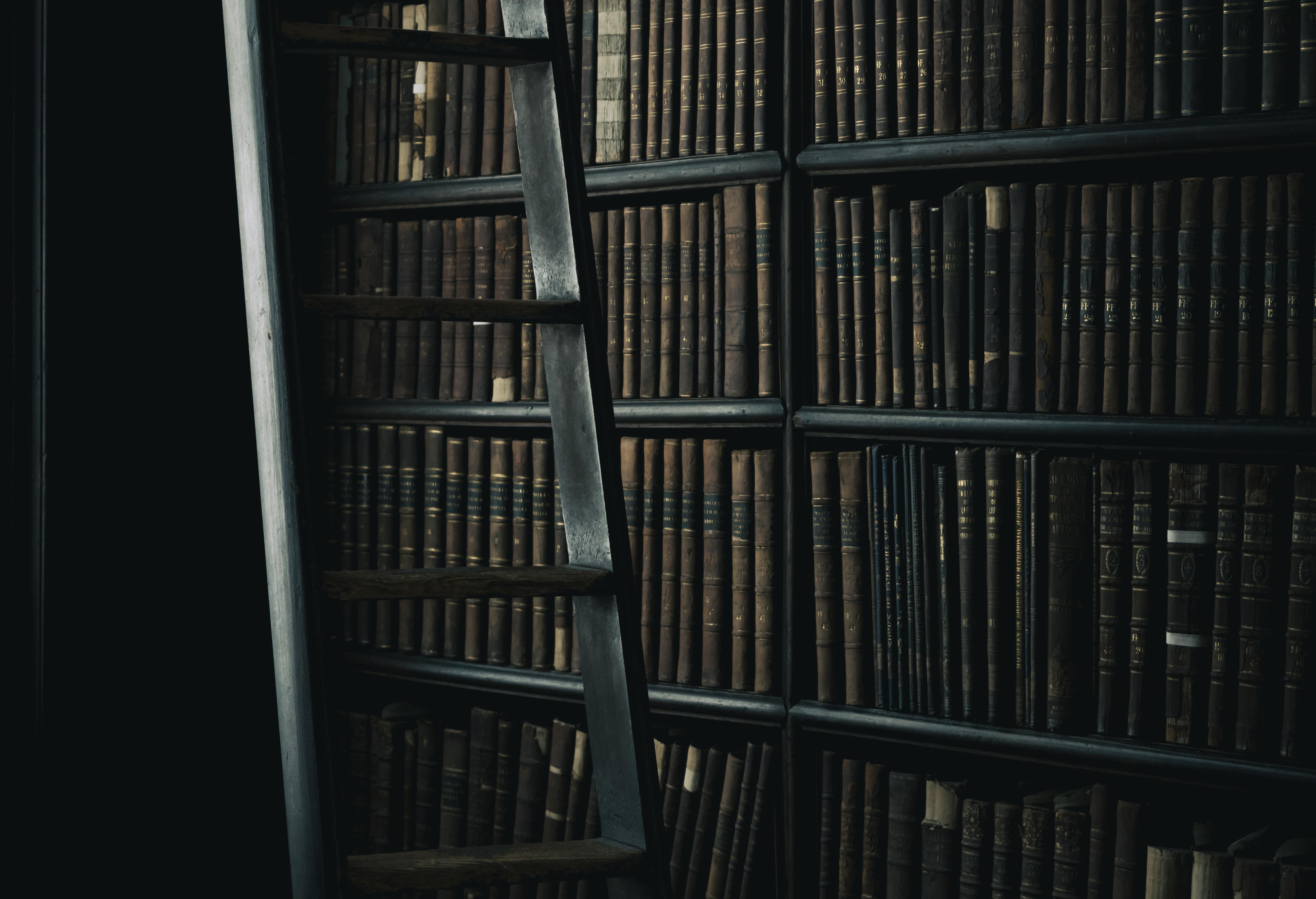 black wooden ladder beside brown wooden bookshelf