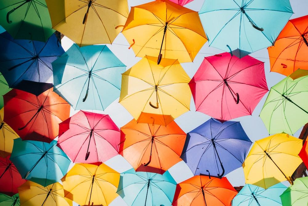 assorted-color opened umbrellas