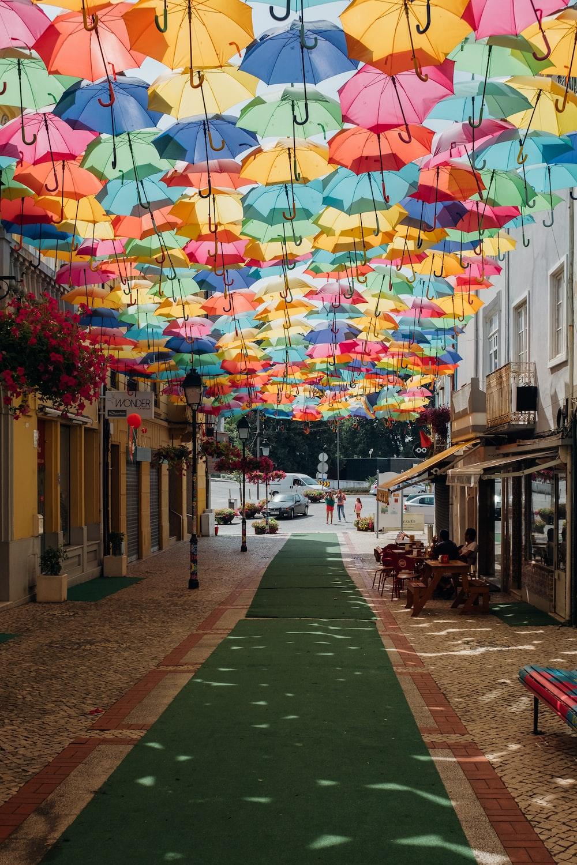 assorted-color umbrella shade