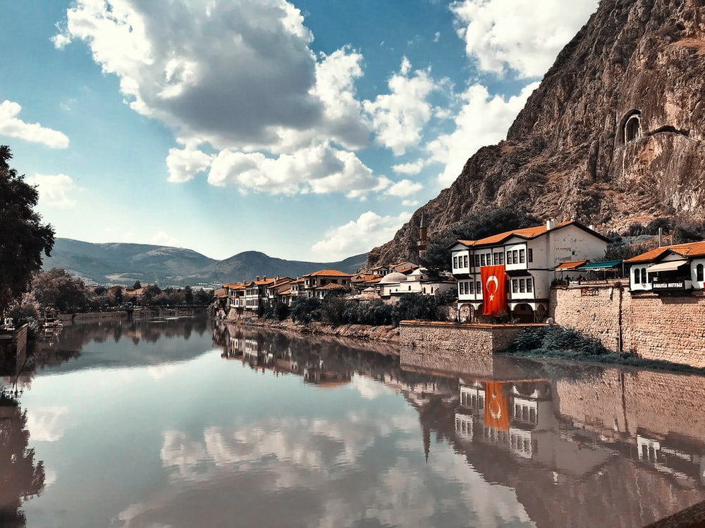 buildings beside calm body of water