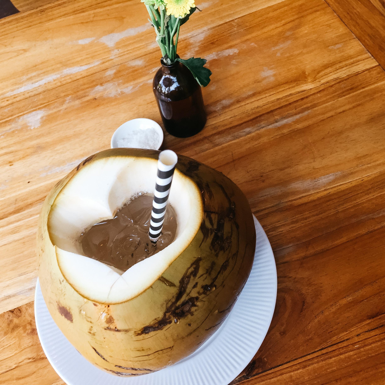 coconut dessert with straw