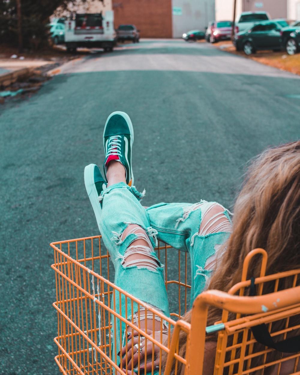 woman in shopping cart