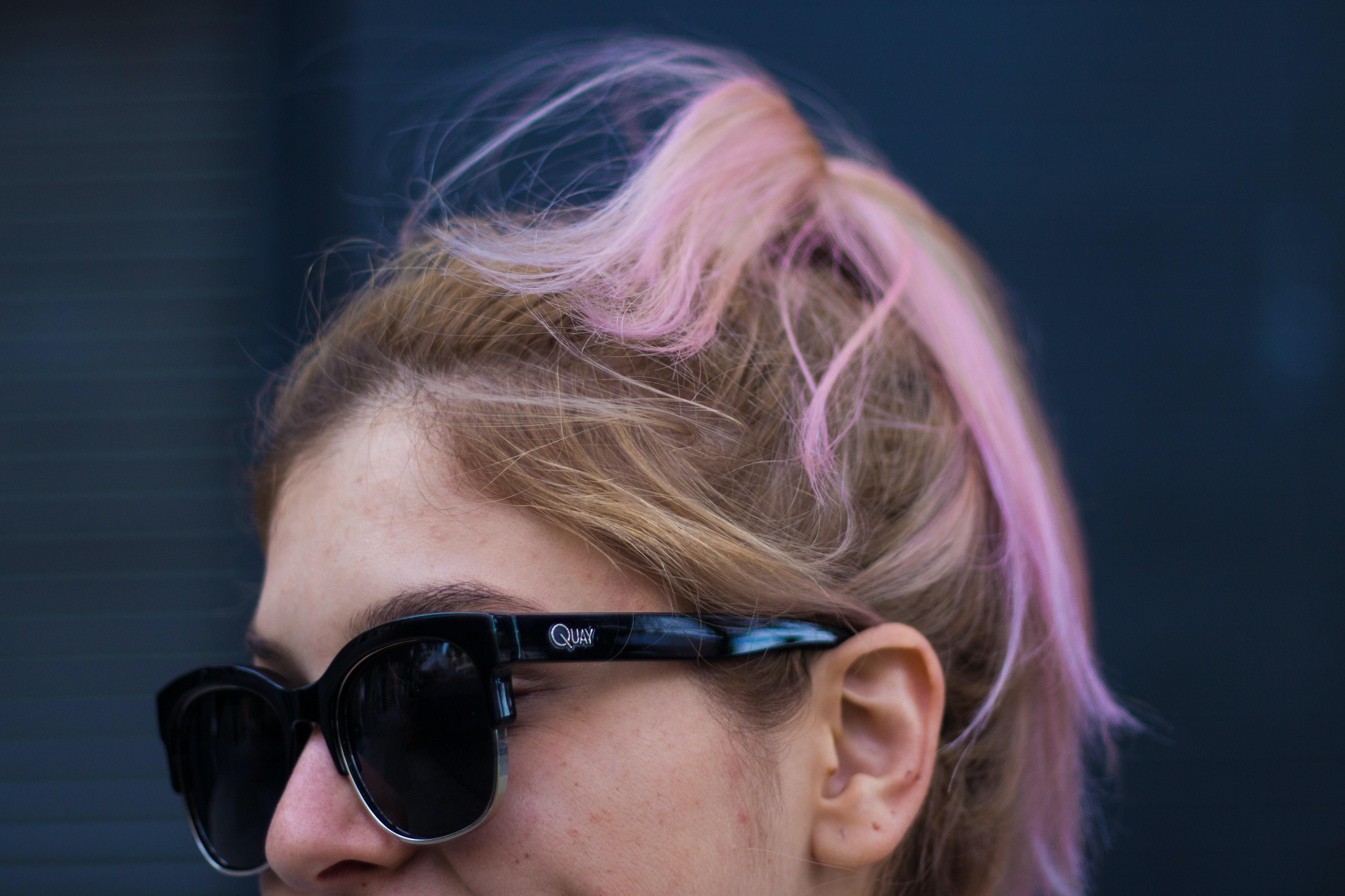 women's black semi-framed Clubmaster-style sunglasses