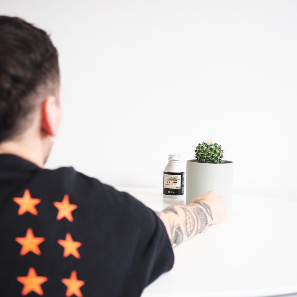 person holding round white ceramic pot with green succulent on top of white table