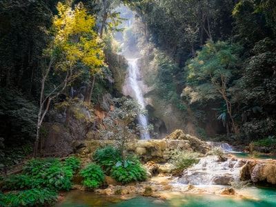 waterfalls and trees laos teams background