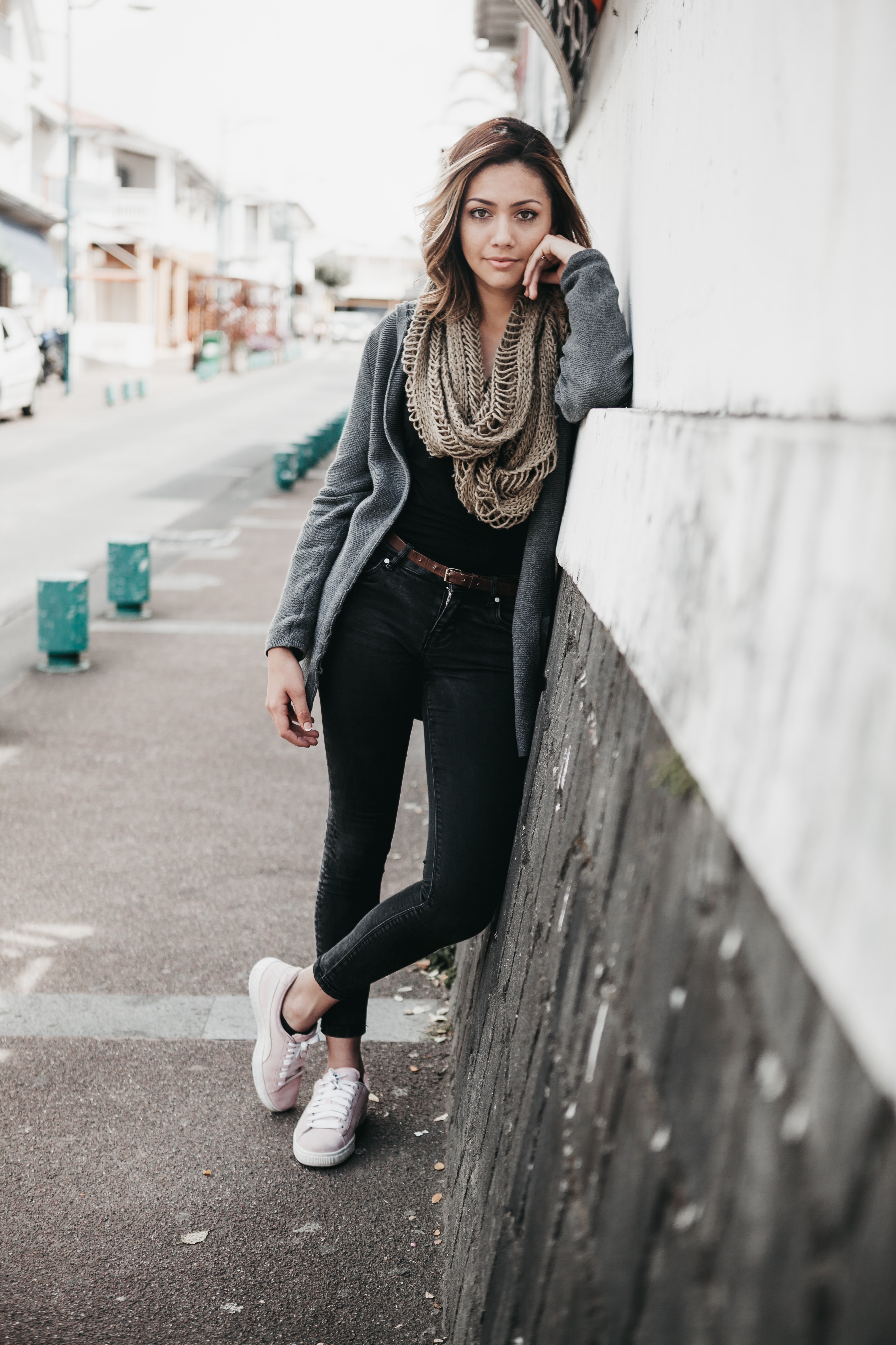 women's brown infinity scarf