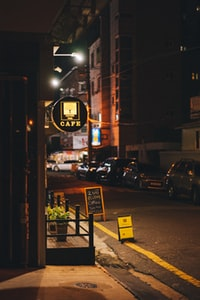 cafe store at night