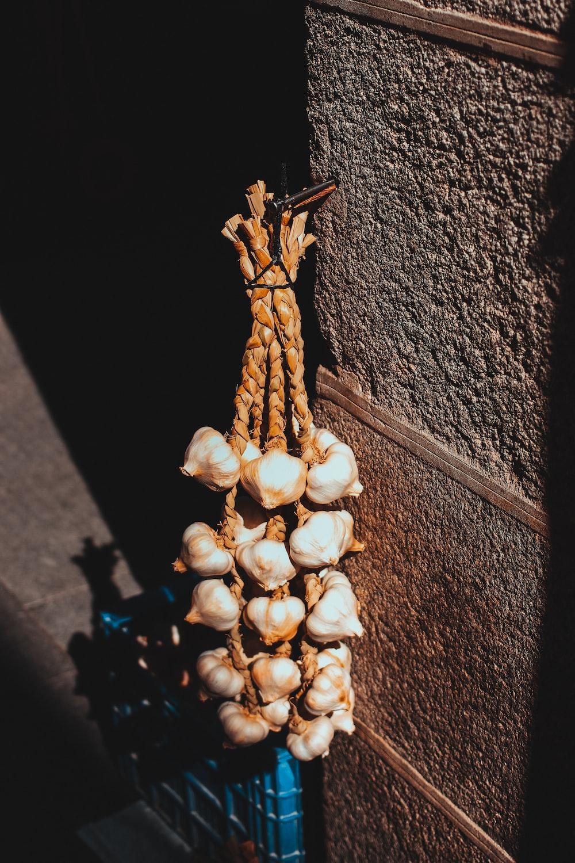 brown garlics hanged on wall at daytime