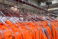 hanging orange clothes lot