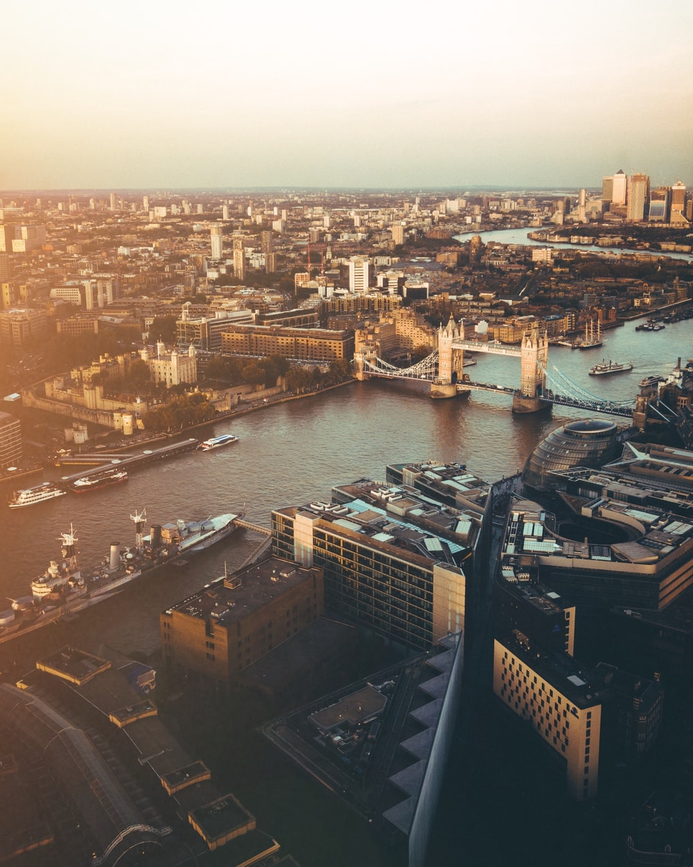 bird's eye view photo of Tower Bridge, London